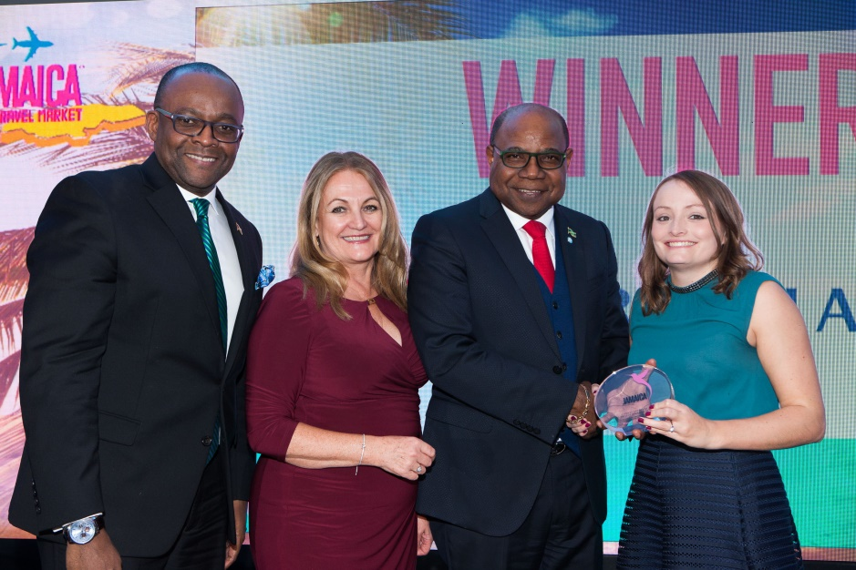 cc50d64bd91 British Airways Holidays is Jamaica's top selling UK Tour Operator. Above,  Rikki Partridge receives the award from left: Donovan White, Director of  Tourism; ...